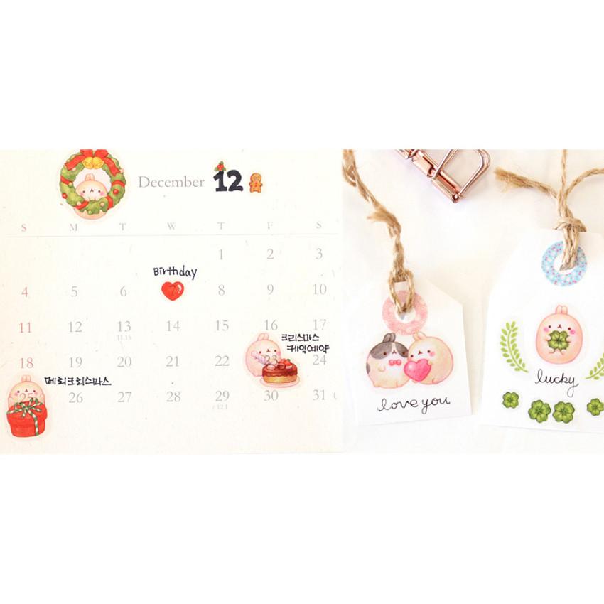 BOOKCODI Molang cute deco transparent sticker set ver.4