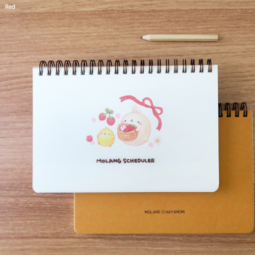 Red - Bookcodi Molang undated weekly desk scheduler