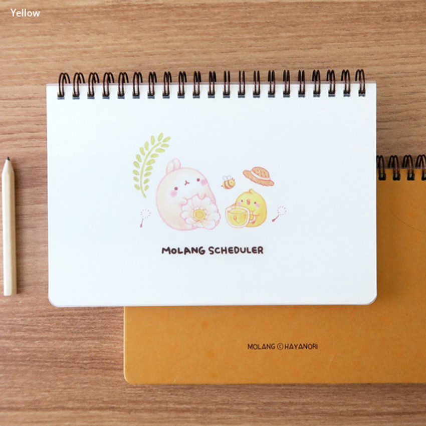 Yellow - Bookcodi Molang undated weekly desk scheduler