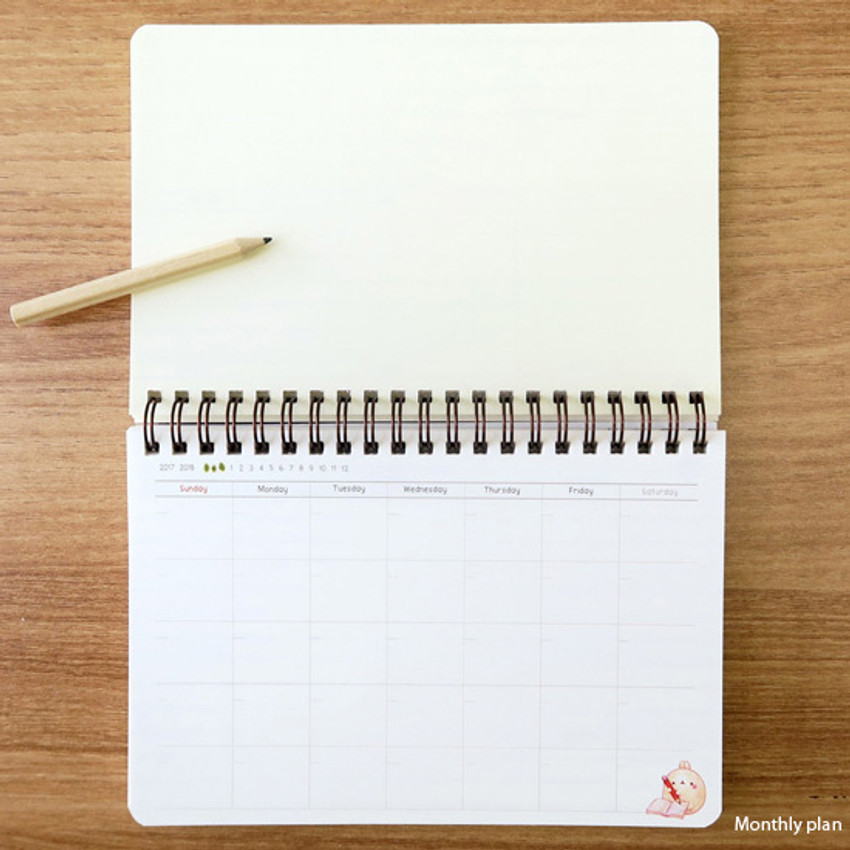 Monthly plan - Molang undated weekly desk scheduler