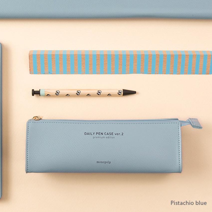 Pistachio blue - Monopoly Daily triangle zipper pencil case ver.2