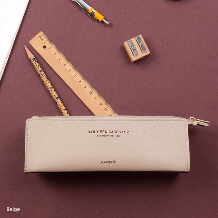 Beige - Monopoly Daily triangle zipper pencil case ver.2
