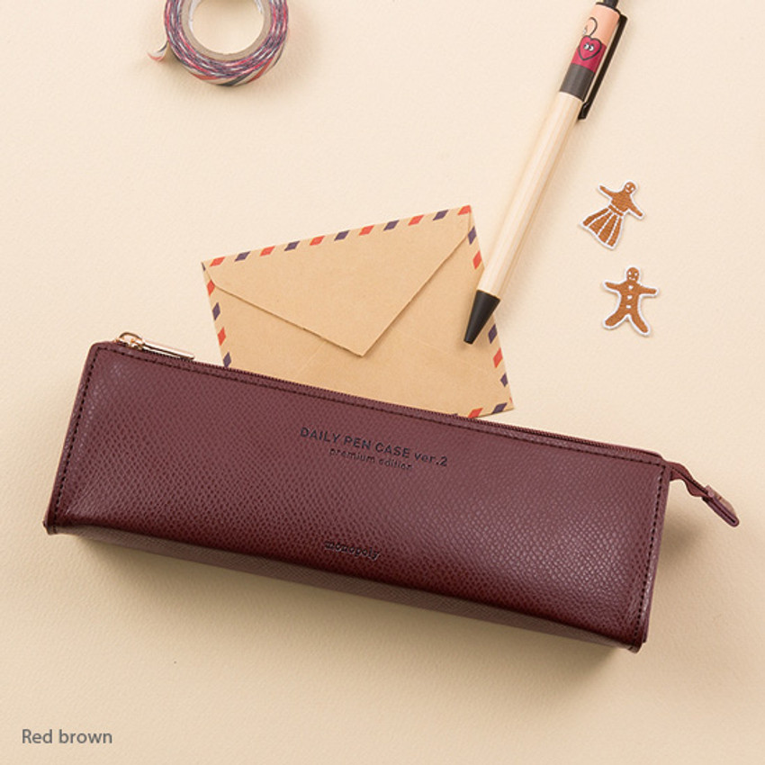 Red brown - Monopoly Daily triangle zipper pencil case ver.2