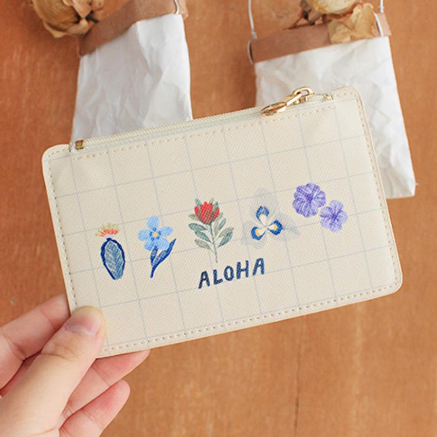Aloha - Rim zipper flat card case holder