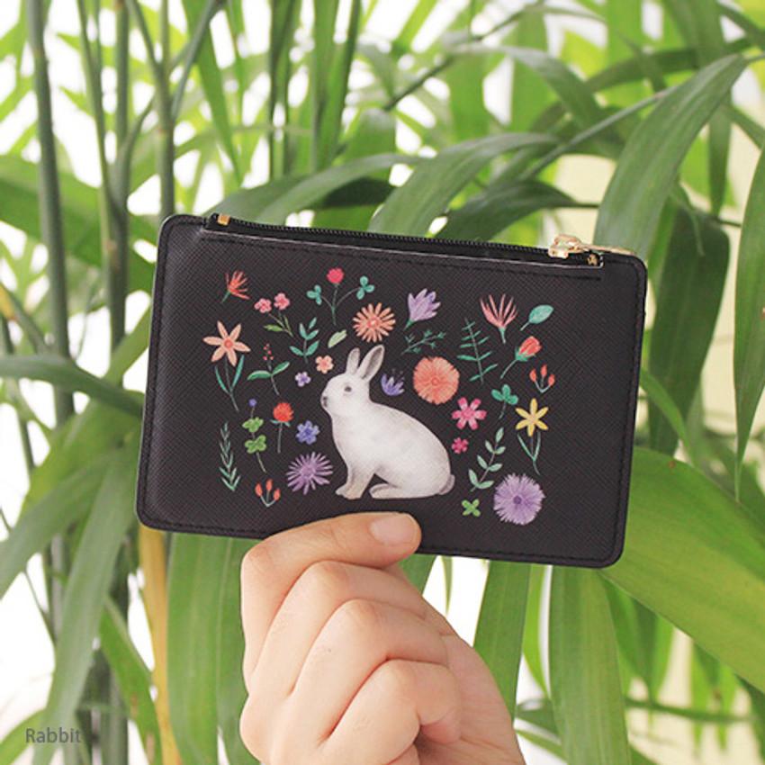 Rabbit - Rim zipper flat card case holder