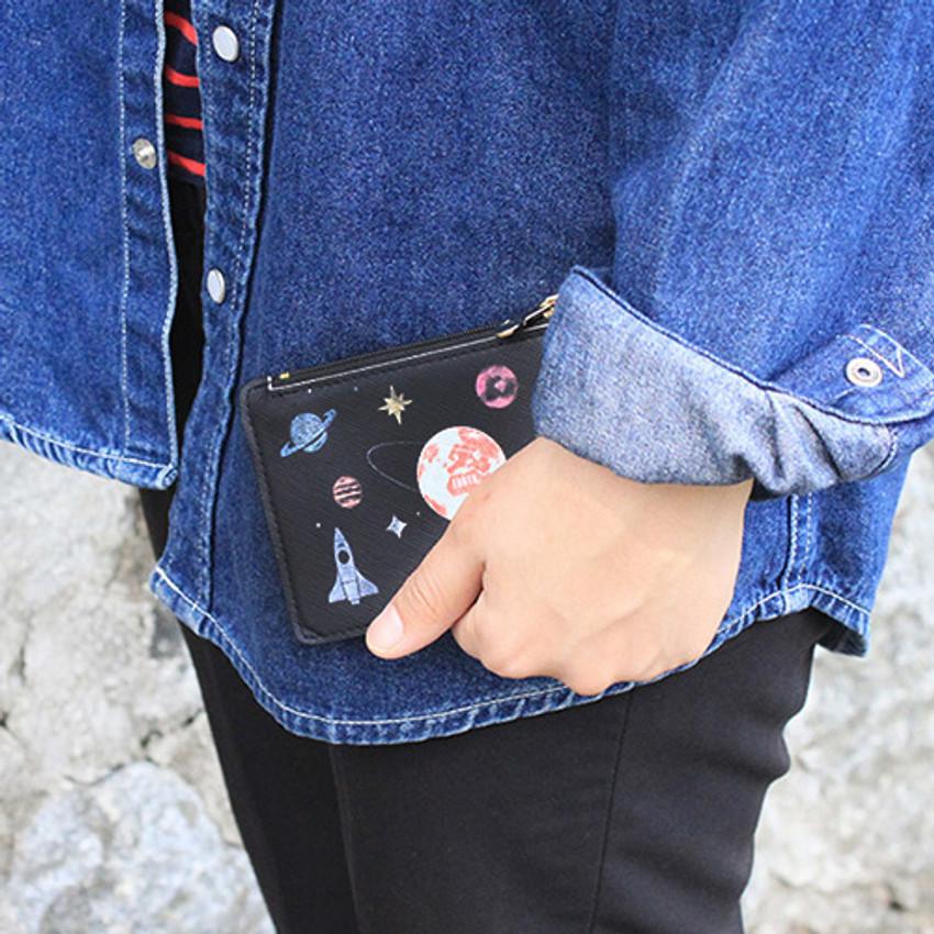 Rim zipper flat card case holder