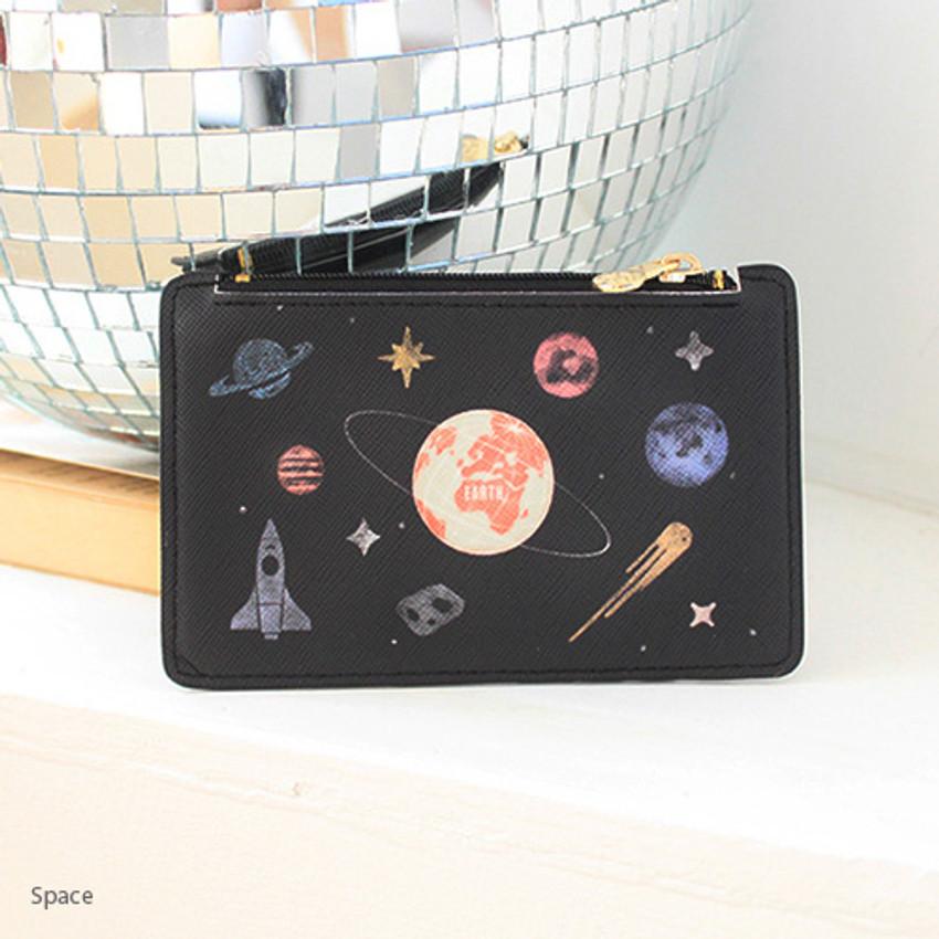 Space - Rim zipper flat card case holder