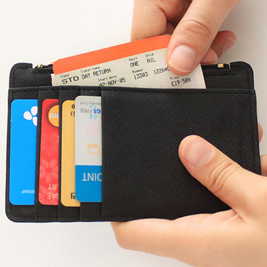 Pocket - Rim zipper flat card case holder