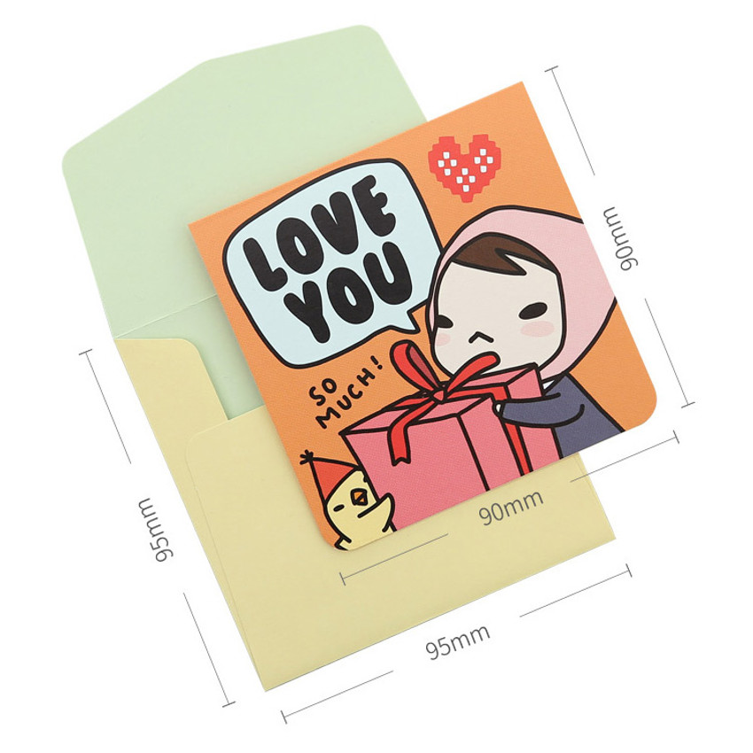 Size of Cartoon message card