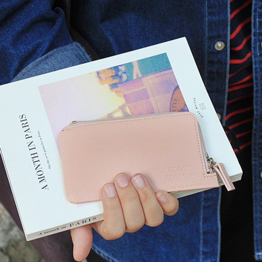 Pink - Think about coner zipper card case