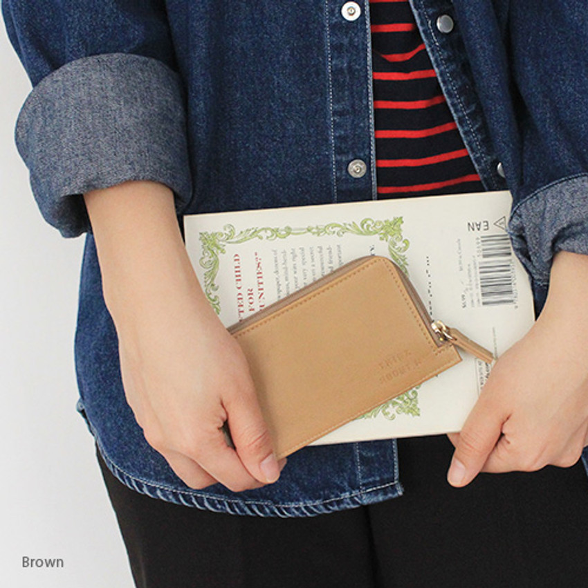Brown - Think about coner zipper card case