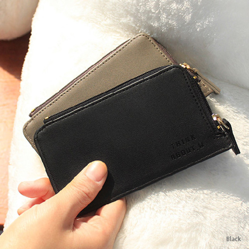 Black - Think about coner zipper card case