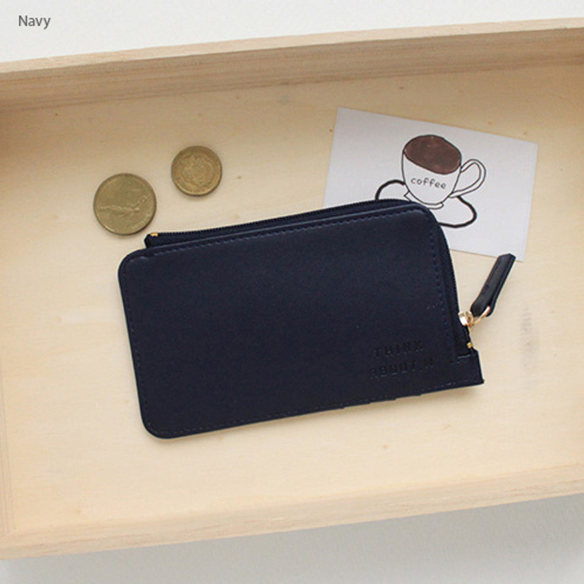 Navy - Think about coner zipper card case