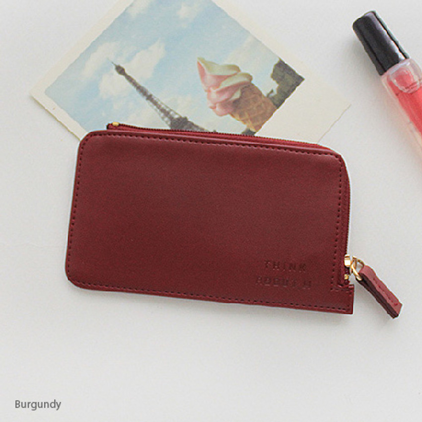 Burgundy - Think about coner zipper card case