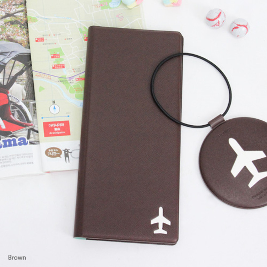 Brown - Fenice Simple RFID blocking large passport cover