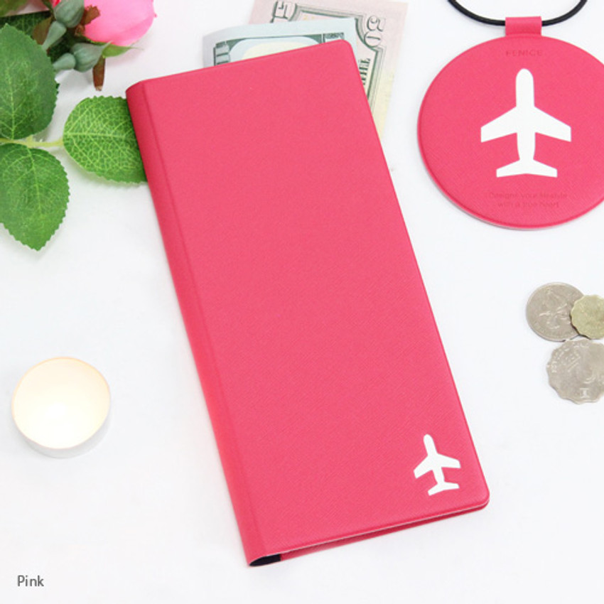 Pink - Fenice Simple RFID blocking large passport cover