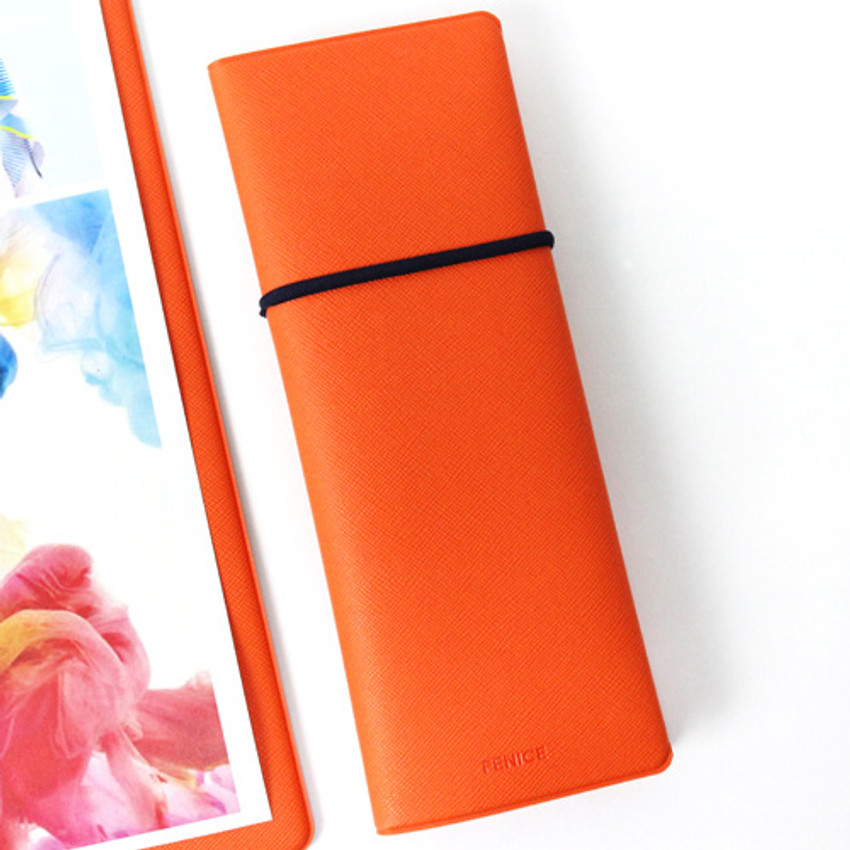Orange - Fenice Office pencil case with elastic band