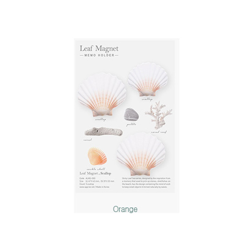 Orange - Appree Scallop magnet set