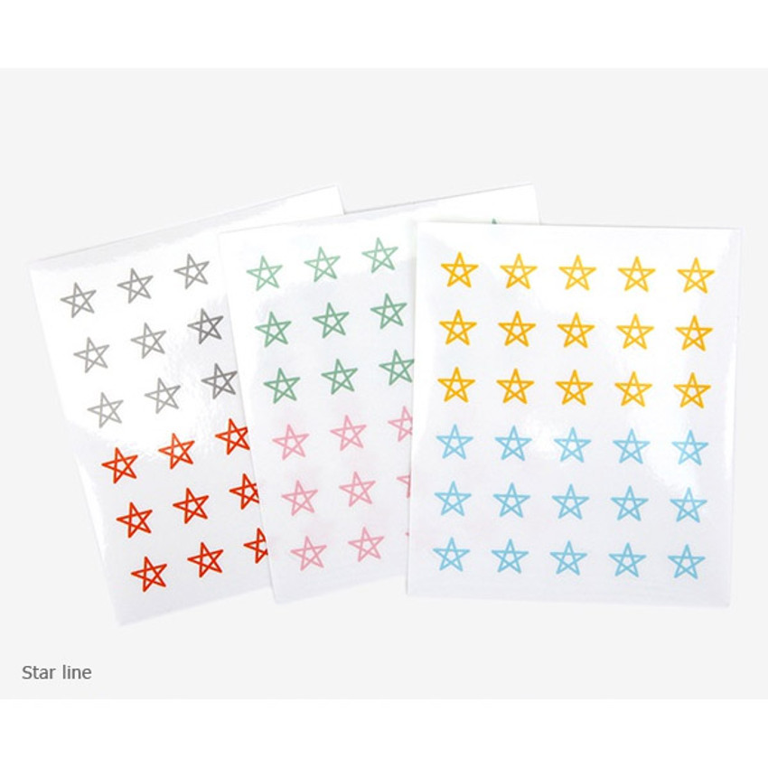 Star line - Dailylike Transparent circle and star deco sticker set ver.3