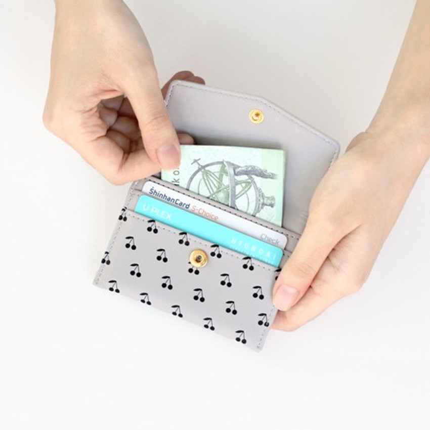 Gray - Iconic Pochette pattern card case pocket wallet