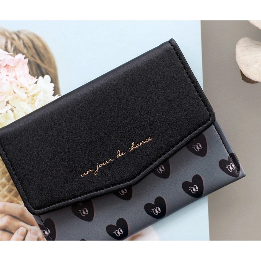 Black - Iconic Pochette pattern card case pocket wallet