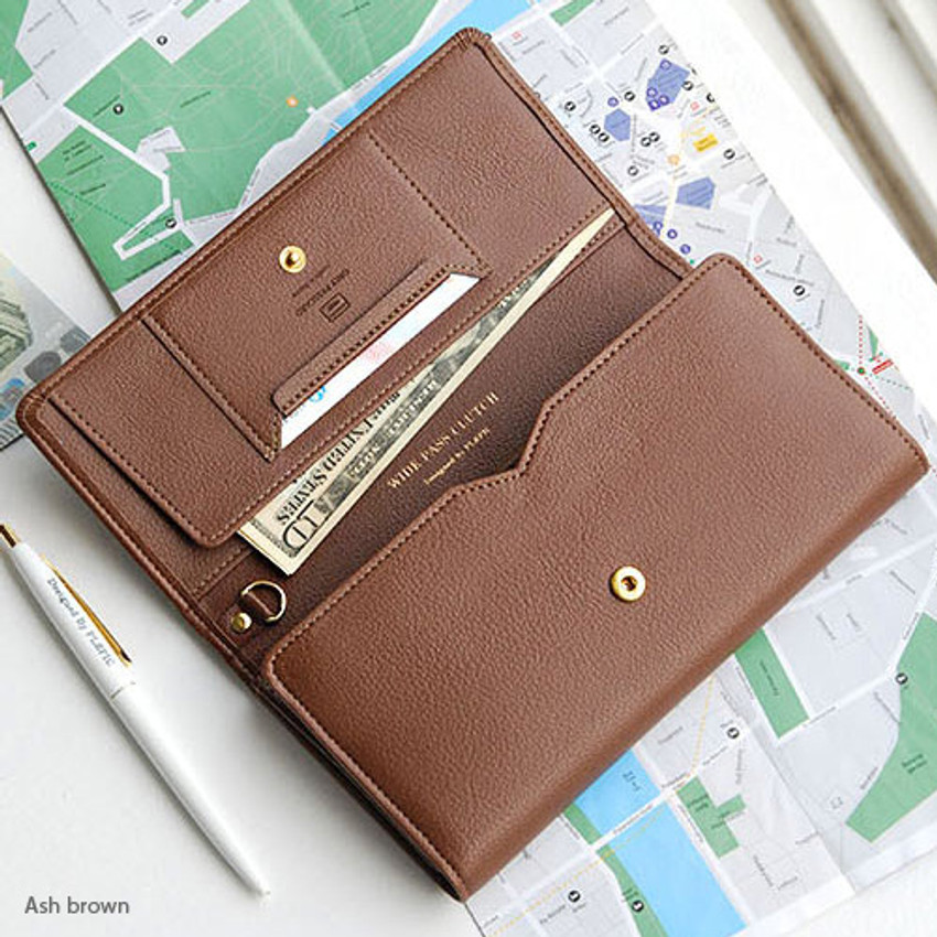 Ash brown - Wide pass slim clutch wallet