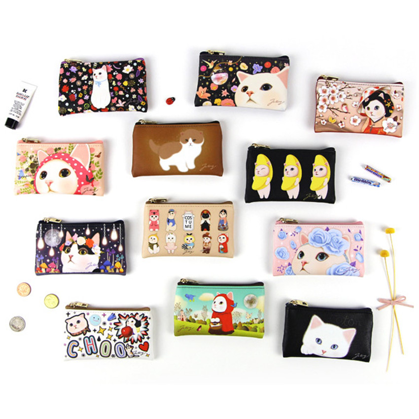 Choo Choo cat slim zipper card case