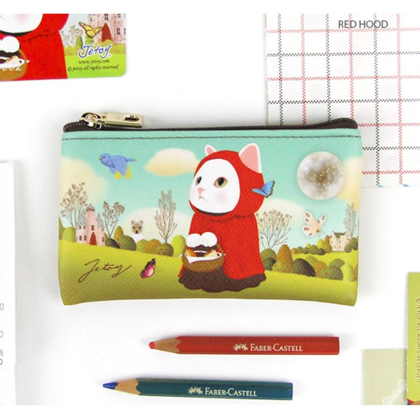 Red hood - Choo Choo cat slim zipper card case