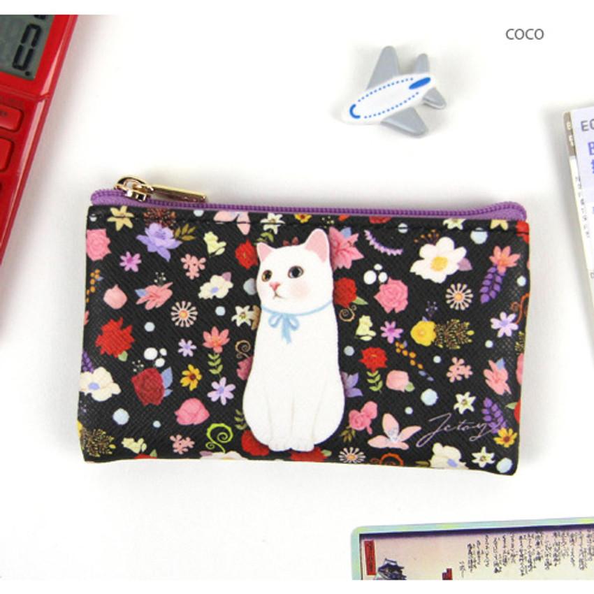 Coco - Choo Choo cat slim zipper card case