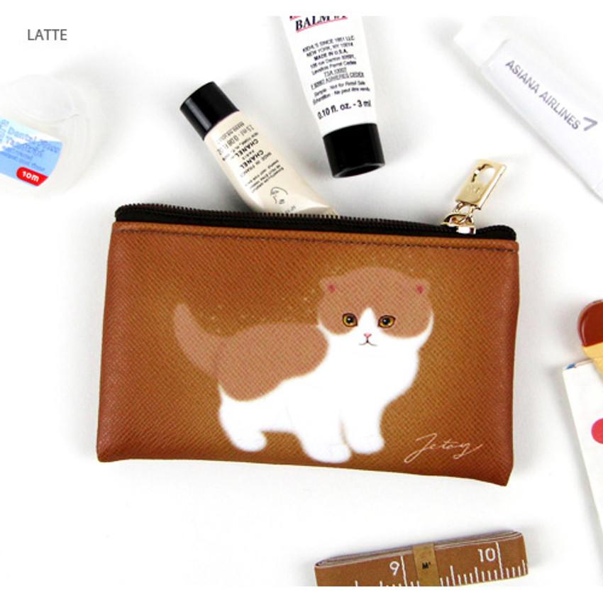 Latte - Choo Choo cat slim zipper card case
