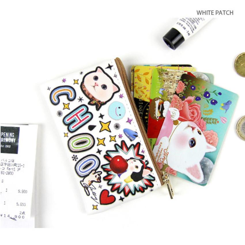 White patch - Choo Choo cat slim zipper card case