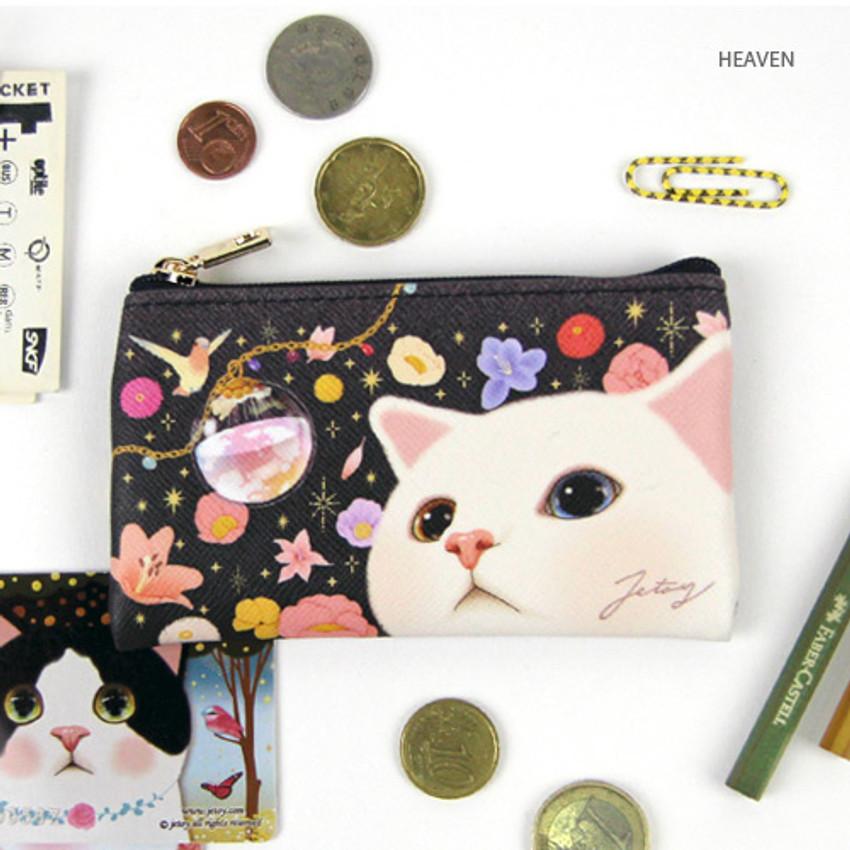 Heaven - Choo Choo cat slim zipper card case