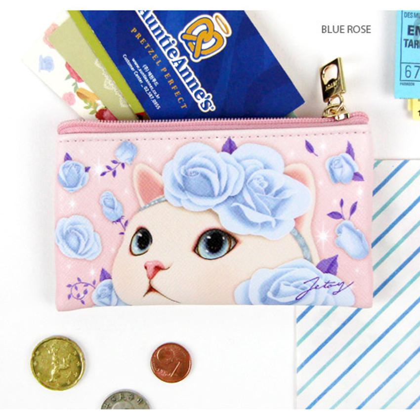 Blue rose - Choo Choo cat slim zipper card case