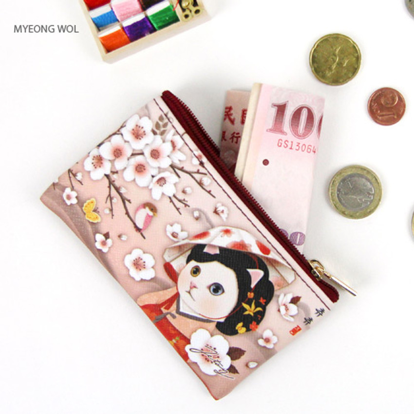 Myeong wol - Choo Choo cat slim zipper card case