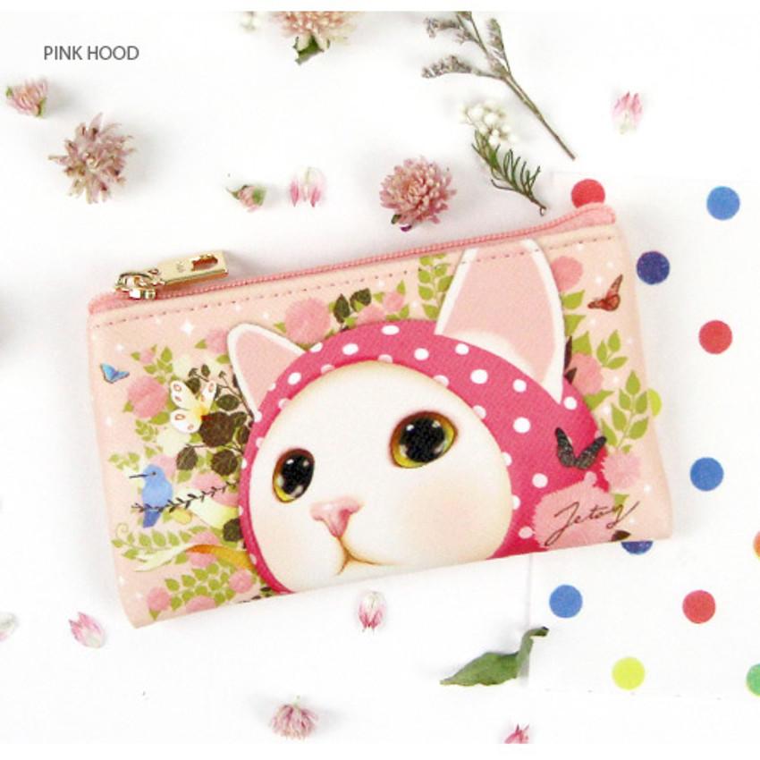 Pink hood - Choo Choo cat slim zipper card case