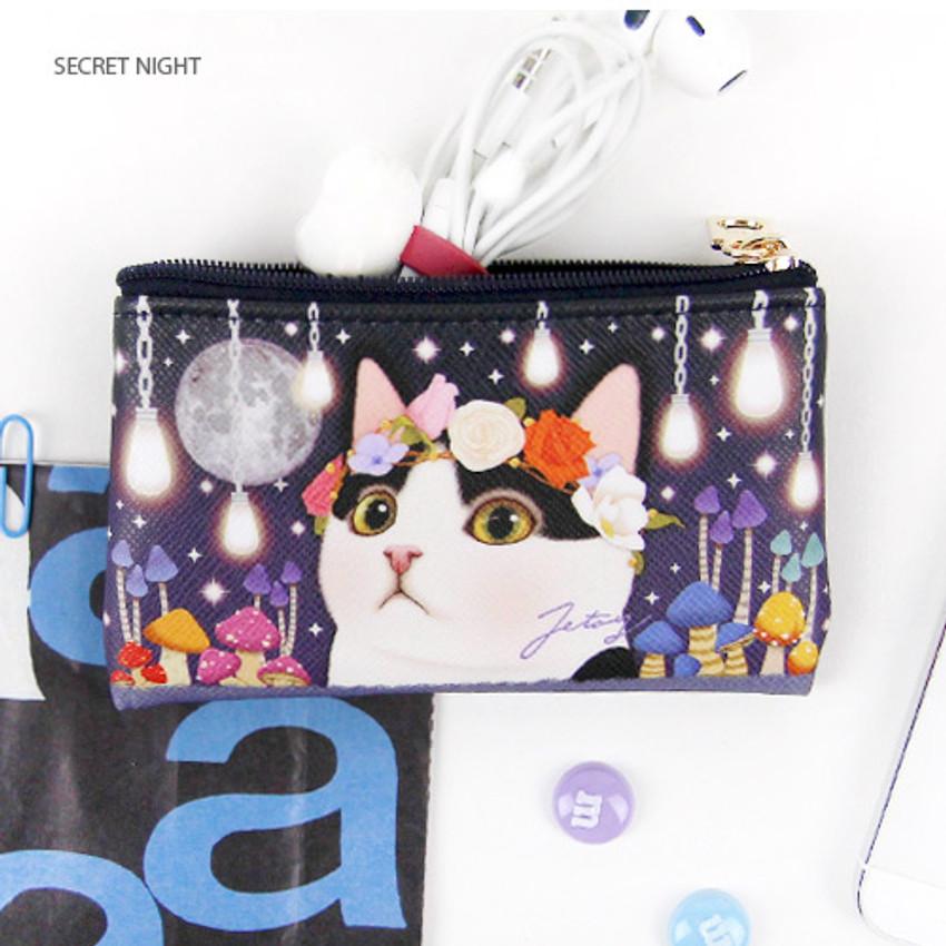 Secret night - Choo Choo cat slim zipper card case