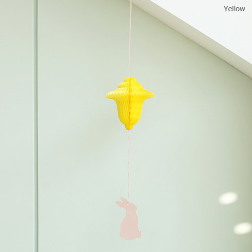 Yellow - Paper mobile card with envelope set - Spring rabbit