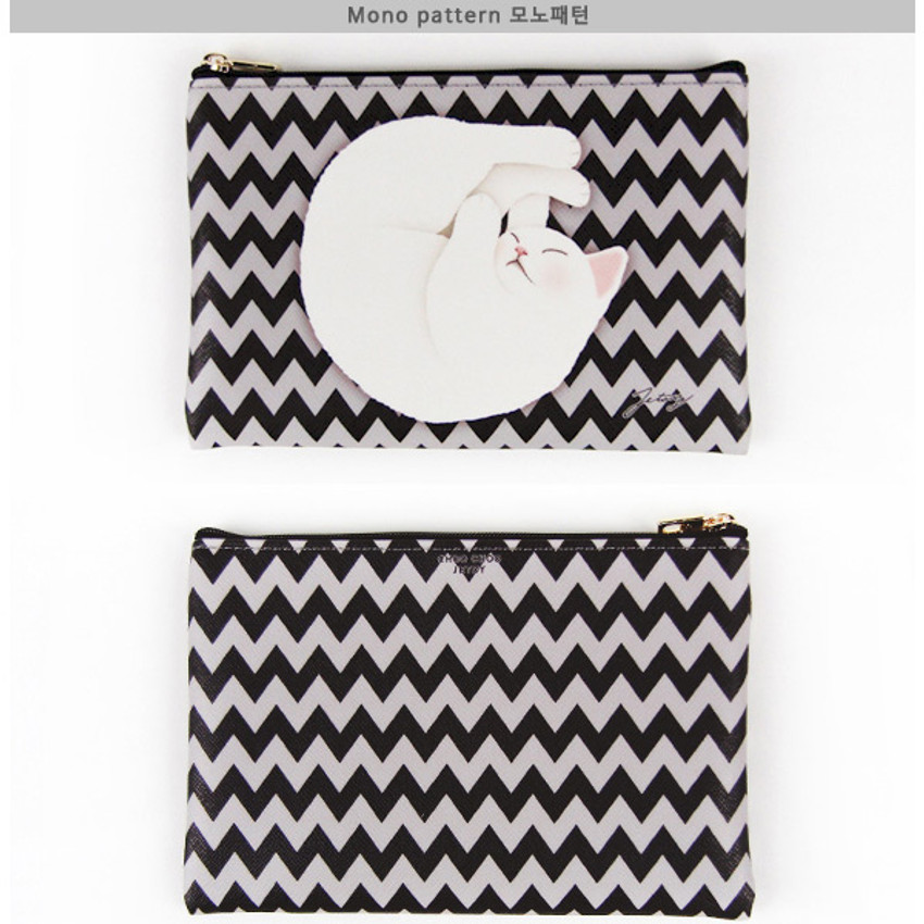 Mono pattern - Choo Choo cat slim zipper pouch