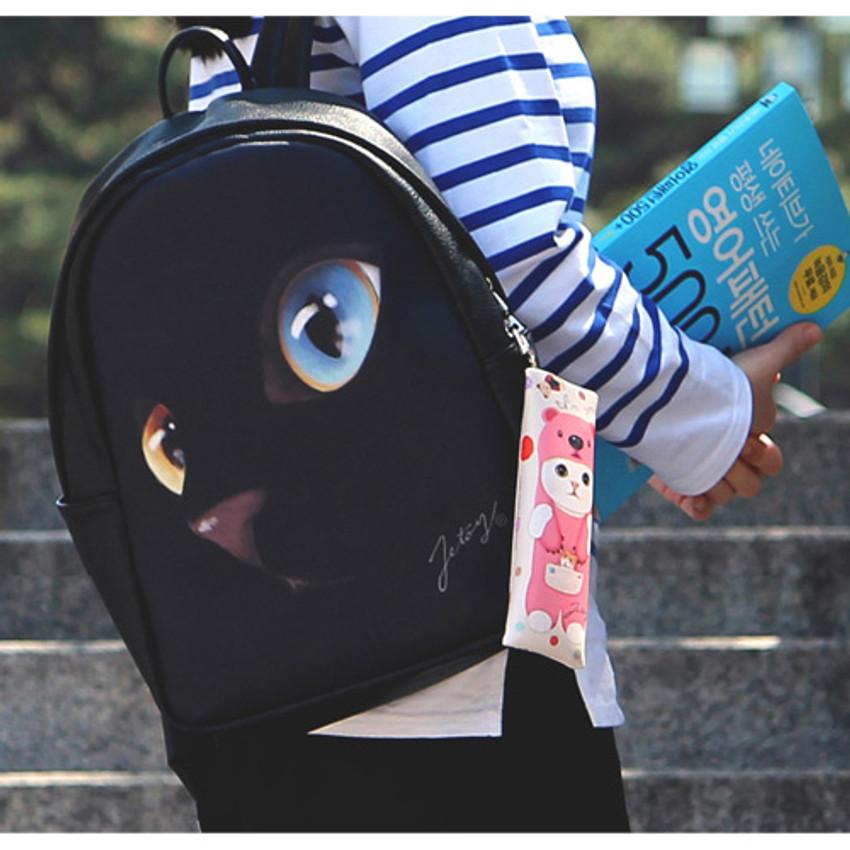 Comes with a key clip - Choo Choo cat slim pencil case