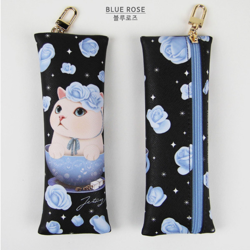 Blue rose - Choo Choo cat slim pencil case