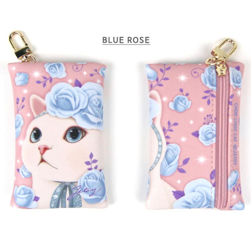 Blue rose - Choo Choo cat card case holder