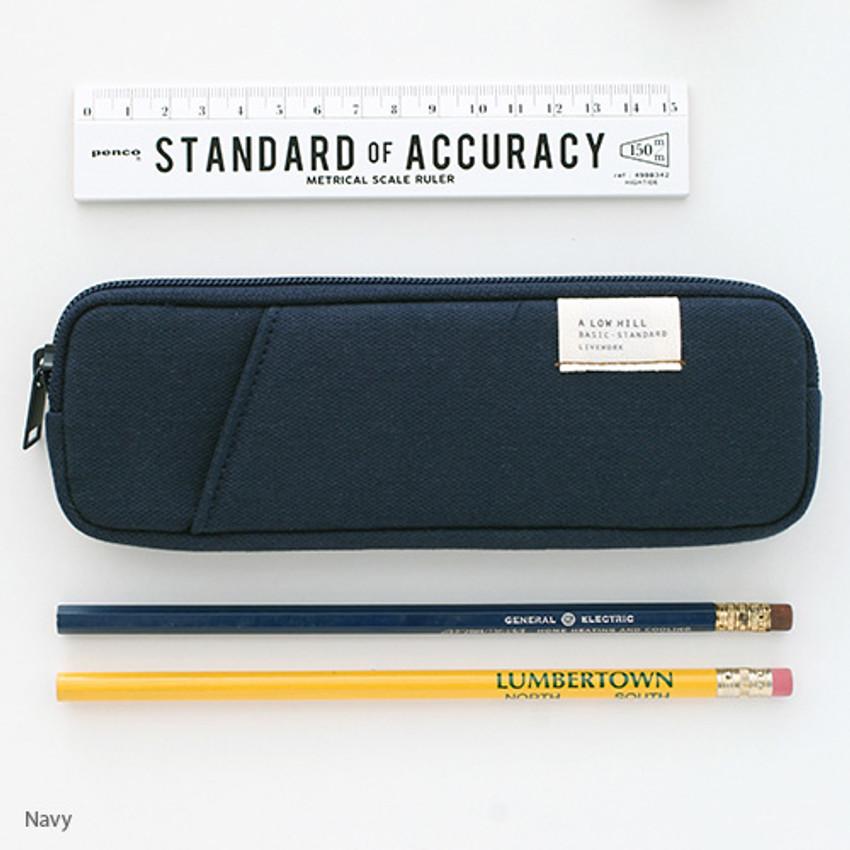 Navy - A low hill basic standard pocket pencil case ver.3