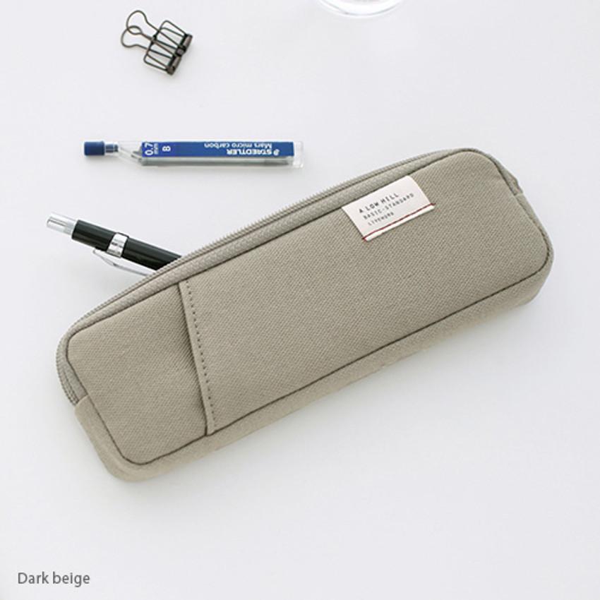 Dark beige - A low hill basic standard pocket pencil case ver.3