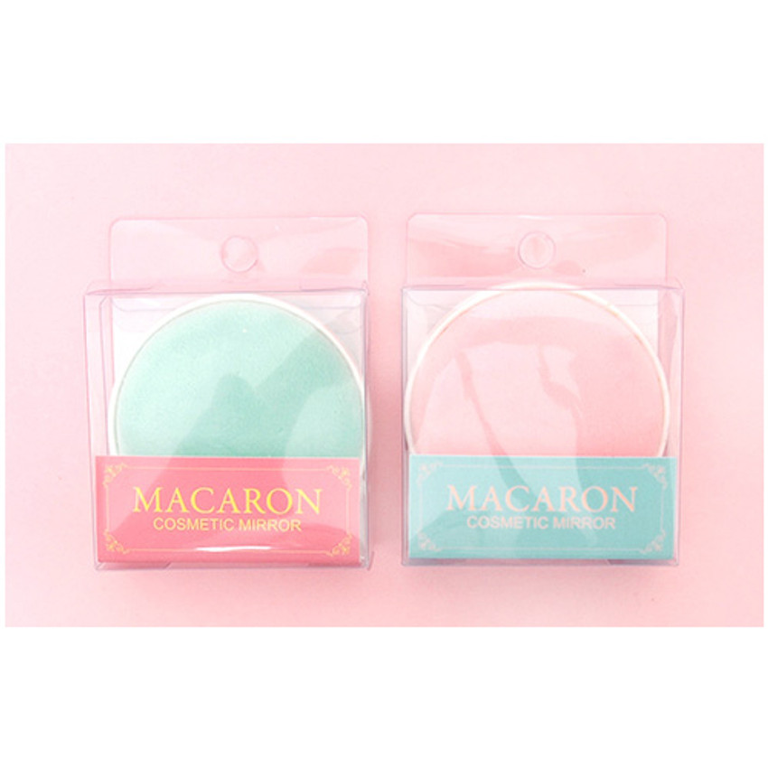 Package of Macaron double sided compact round mirror