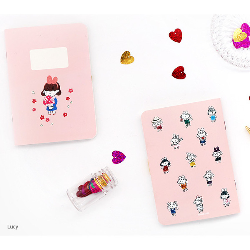 Rucy - Romane illustration small plain and lined notebook