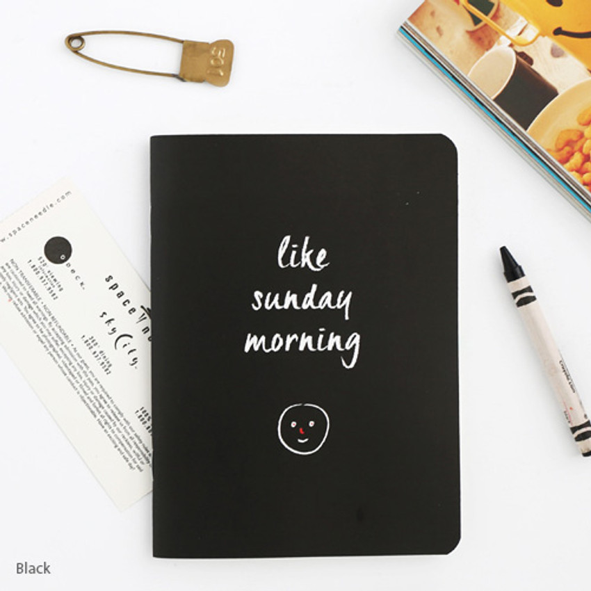 Black - Romane illustration medium plain and lined notebook