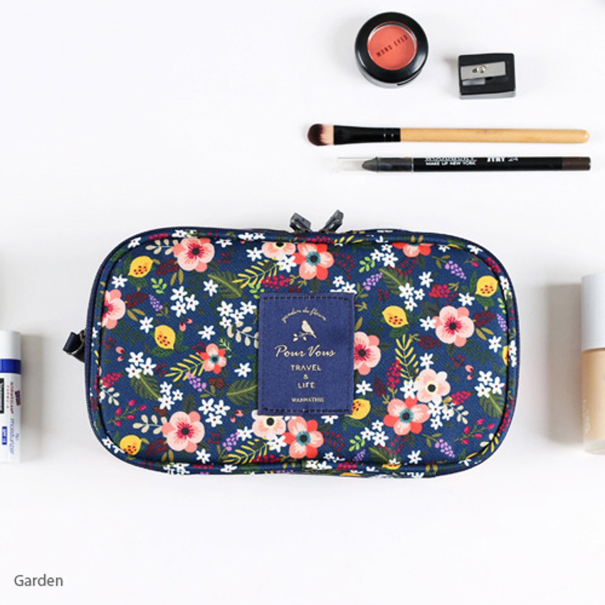 Garden - Wanna This Cosmetic makeup double side zipper pouch
