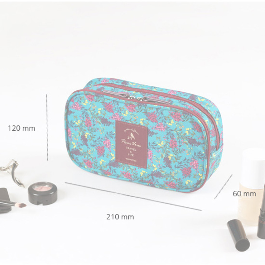 Size of Wanna This Cosmetic makeup double side zipper pouch