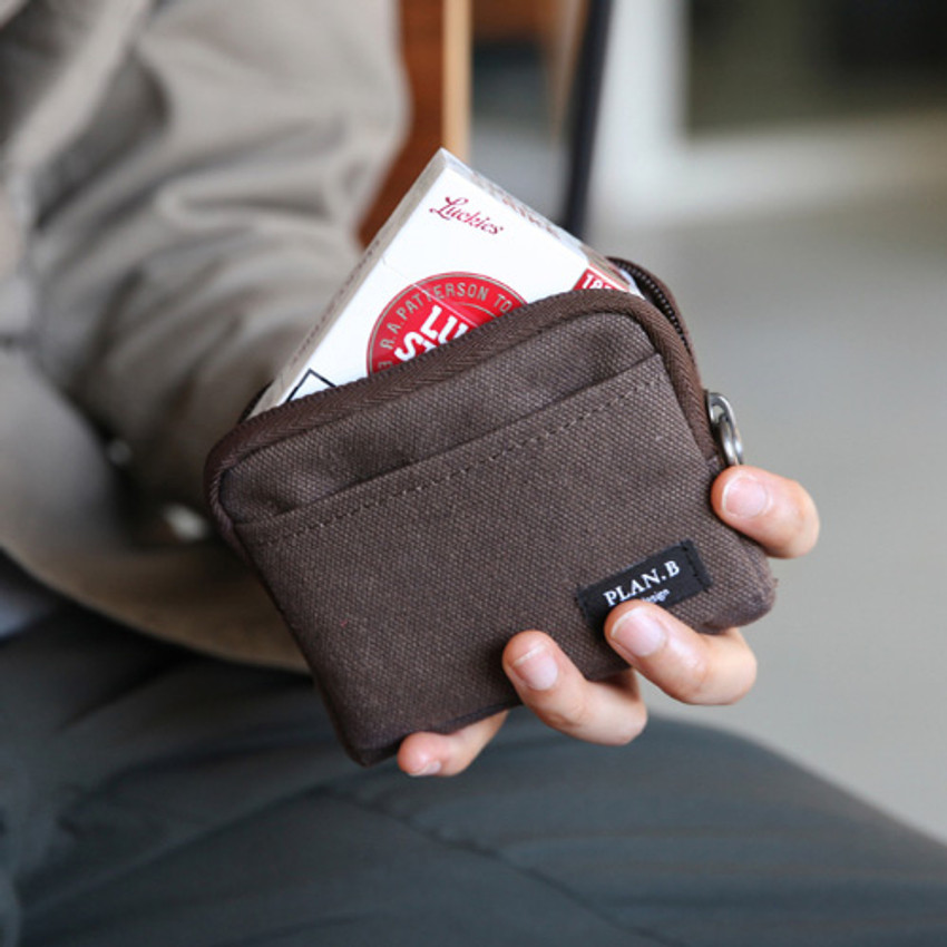 Dark brown - Make your second plan multi small pocket pouch