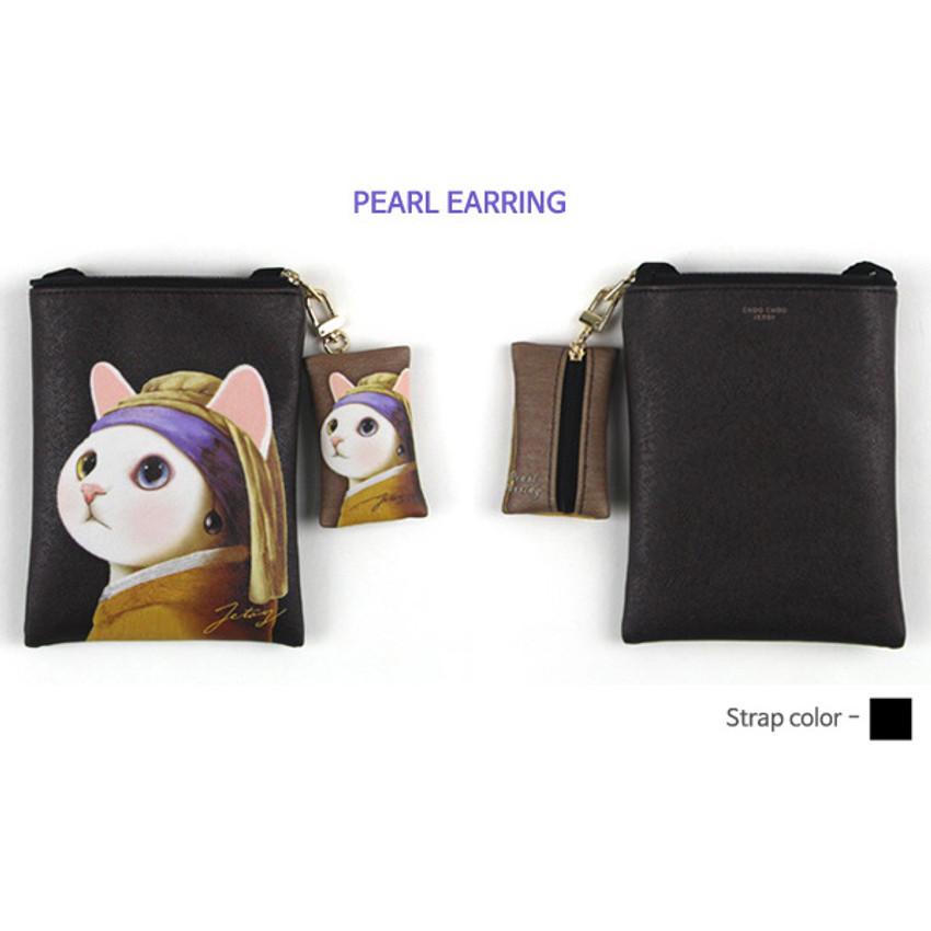 Pearl earring - Choo Choo cat small crossbody bag ver.2